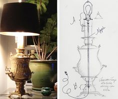 DIY Samovar Lamp  I did this long ago and everyone loved them. Perhaps, I'll do it again and keep them this time.