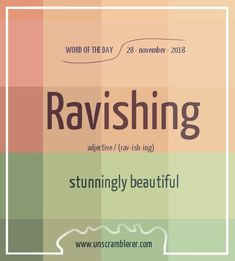 Todays is: Ravishing Truly an emotional word to describe beauty 😍 The post Ravishing appeared first on Woman Casual - Life Quotes Weird Words, Rare Words, Unusual Words, New Words, Cool Words, Beautiful Words In English, Interesting English Words, English Phrases, Learn English Words