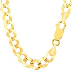 14K Yellow Gold Comfort Curb Chain - Width 10.0mm - Length 8.5 Inch - JewelryAffairs  - 1