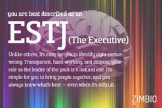 I'm a ESTJ (The Executive). What's your personality type? - Quiz