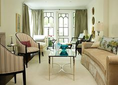 The long, narrow proportions of a Victorian townhouse are often best addressed via two distinct seating groupings. When entertaining it's rare to have all guests engaged in a single conversation, so why not divide the room into intimate groupings that offer the best opportunities for lounging, relaxing, entertaining and enjoying whether it's a single one or a group of eight?