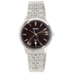 Seiko SUR031 Men's Classic Black Dial Stainless Steel Bracelet Watch - Discount Watch Store
