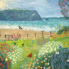 Garden Beside The Sea Square Blank Greeting Card by Artist Jo Grundy Art Cards Art And Illustration, Painting Inspiration, Art Inspo, Naive Art, Whimsical Art, Canvas Art Prints, Cute Art, Painting & Drawing, Amazing Art