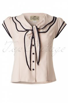 Collectif Clothing - 50s Charlotte blouse Cream and Navy