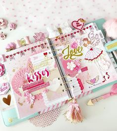 Planner Ideas & Accessories 💗hennytjcraftcottage: Featuring a completed February dashboard in my Julie Nutting Planner from with LOVE ❤️ theme in pinks and reds and some touches of gold and glitter. Cute Planner, Planner Layout, Happy Planner, Kawaii Planner, Prima Planner, Planner Dashboard, Cute School Supplies, Planner Decorating, Tampons