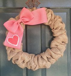 Burlap Wreath with Big Pink Burlap Bow and Heart- Valentines Day Wreath