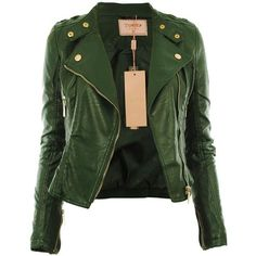Diana New Womens Faux Leather Biker Gold Button Zip Crop Ladies Jacket... (£3.95) ❤ liked on Polyvore featuring outerwear, jackets, coats, tops, leather jacket, cropped jacket, cropped faux leather jacket, zipper jacket, fake leather jacket and green jacket