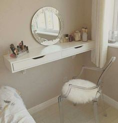 DIY Vanity Mirror With Lights for Bathroom and Makeup Station Makeup Vanity with Lights, Makeup Vanity with Lights Ikea, Makeup Vanity Table with Lighted Mirror, Professional Makeup Vanity with Lights, Vanity Room, Mirror Vanity, Ikea Vanity, Diy Mirror, Wall Mounted Makeup Vanity, Closet Vanity, Vanity Shelves, Small Vanity, Room Shelves