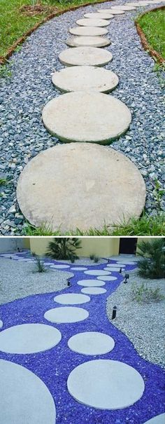 a Stepping Stones and Path Combo to Update Your Landscape Use recycled blue glass or concrete crush as filler between round stepping stones.Use recycled blue glass or concrete crush as filler between round stepping stones.