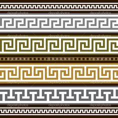 Set of vector greek borders. Collection of antique greek borders, full scalable vector graphic for easy editing and color change. Mosaic Patterns, Pattern Art, Art Patterns, Designers Gráficos, Greek Pattern, Vector Border, Ancient Greek Architecture, Greek Art, Border Design