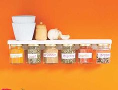 DIY spice rack - if you add magnets to the tops of baby food jars, you can use both sides of a shelf! What a great idea. I am already collecting the jars to make this for my future kitchen/pantry.