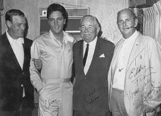 "Elvis with Eddy Arnold, Frank ?? And Col Parker - summer 1967 during the production of the movie ""Speedway."""
