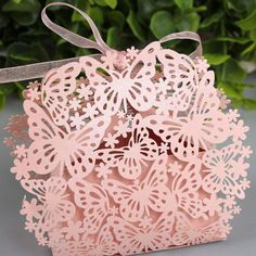 50PCS Laser Cut Paper Candy Boxes With Ribbon Wedding Decoration - Wedding Look