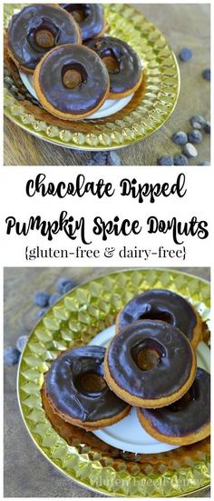 How delicious are these chocolate dipped pumpkin spice donuts?! SO yummy and easy to make! They are also gluten-free, dairy-free and so delicious that anybody will love them. Serve these tasty treats at your next Halloween party for a great dessert. glutenfreefrenzy.com | Gluten Free Desserts | Dairy Free Desserts | Gluten Free Donut Recipe | Gluten Free Sweets || Gluten Free Frenzy