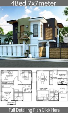 Modern Home design with 4 bedrooms. Style modern terrace slapHouse description:Ground Level: 1 Bedrooms, Family room, Living room, Dining room, Kitchen Source by Two Story House Design, 2 Storey House Design, Duplex House Plans, Simple House Design, Bungalow House Design, Minimalist House Design, Bedroom House Plans, Modern House Design, Modern Houses