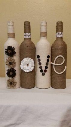 Twine Wrapped Bottles by LinzBottleCrafts1234 on Etsy