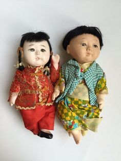 Japanese Gofun Baby Boy Chinese Girl Glass Eyes Antique Vintage Doll Composition