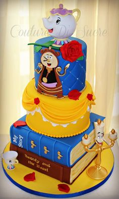 I like this cake but without the characters. Beauty & The Beast Cake! Crazy Cakes, Fancy Cakes, Cute Cakes, Beautiful Cakes, Amazing Cakes, Fondant Cakes, Cupcake Cakes, Beauty And The Beast Party, Beauty And The Beast Birthday Cake