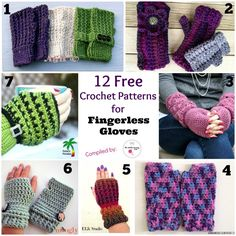 I love the 'wave' pattern. 12 Free Crochet Patterns for Fingerless Gloves/Fingerless Mitts/Wrist Warmers by some of my favorite crochet designers. Crochet Gloves Pattern, Crochet Mittens, Knit Or Crochet, Crochet Crafts, Free Crochet, Crochet Round, Crochet Granny, Crochet Ideas, Crochet Wrist Warmers