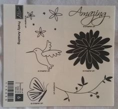 NEW Stampin' Up! PRETTY AMAZING  (wood mount stamp set) HUMMINGBIRD BUTTERFLY #StampinUp