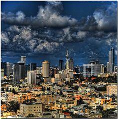 Tel Aviv business skyline
