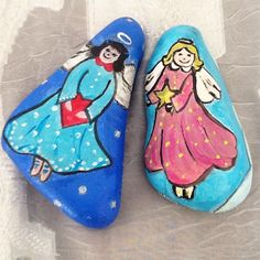 Angels. Rock paining .. Stoneart