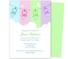 Baby Shower Invitations Templates: Pacifier Comfort Baby Shower Template