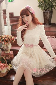 Japanese Women Japanese sweet new spring and winter long-sleeved lace dress bottoming sub 70 # big spot