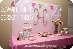 Lots of great ideas on how to throw a Cowgirl themed birthday party