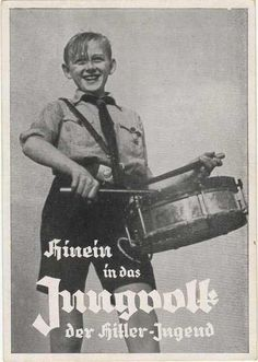 """Hinein in das Jungvolk der Hitler Jugend"". Inside the Hitler Youth propaganda PC with JV drummer. Unused back stamped with stempel from Nuernberg Fahnlein Schill. Message to read the ""Jungvolk"" newspaper."