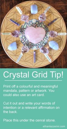 Crystal Grid Tip: Use a mandala for your crystal grids for manifesting, healing and love. Can you have more than one crystal grid and how many crystal grids can you have active at the same time? What are the rules of multiple crystal grids? Crystal Guide, Crystal Magic, Crystal Healing Stones, Crystal Uses, Crystal Altar, Healing Crystal Jewelry, Crystal Shop, Crystals Minerals, Crystals And Gemstones