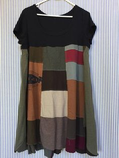 Upcycled Boho Patchwork Tshirt Dress Loose fit Tunic Rustic