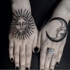 These sun and moon hands. | 19 Tattoos Of The Moon That Are Seriously Stunning