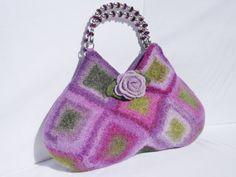 Purple and Green Felted Wool Bag  Purse  Fiber Art by LJDBags, $125.00