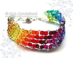 Pulsera arco iris; pulseras de cristal; Pulsera de Swarovski; Pulsera de cristal; Pulseras de cristal Swarovski simplemente oscuro del arco iris