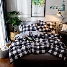 35+ Best Dorm Bedding Sets – Back to School - ORoa 3 Piece Duvet Cover and Pillow Shams Bedding Set Twin Cotton 100 for Kids Boys, Print Plaid Pattern White Black at hisandherwishlist.com