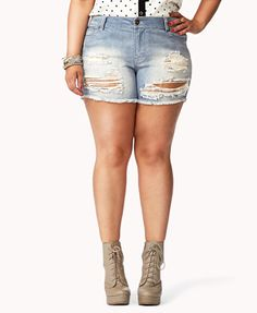 Plus Size Destroyed Denim Shorts $22.80
