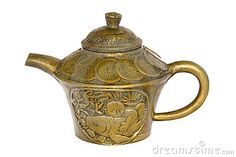 Antique Chinese brass tea pot