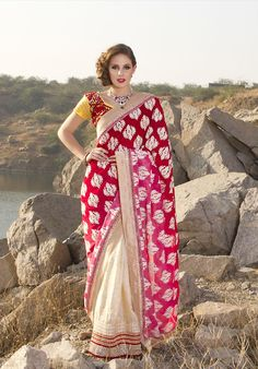 $106.86 Pink Art and Faux Georgette Silk Saree 21247 With Unstitched Blouse