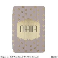 Elegant and Girly Faux Gold Glitter Dots Beige iPad Mini Cover