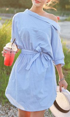Blue Off Shoulder Stripe Print Button Side Bow Waist Dress