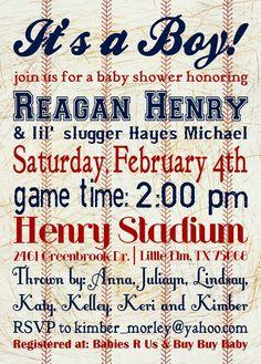 Baseball babyshower invite idea.