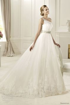 pronovias wedding dresses 2013 collection - diosa one shoulder bridal gown