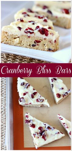 Cranberry Bliss Bars ~ A soft blondie bar with white chocolates, cranberries and. Cranberry Bliss Bars ~ A soft blondie bar with white chocolates, cranberries and covered in cream cheese frosting. Perfect treat for any occasion! Winter Desserts, Köstliche Desserts, Christmas Desserts, Delicious Desserts, Dessert Recipes, Christmas Treats, Holiday Foods, Christmas Recipes, Christmas Cookies