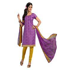 Captivating Purple & Yellow Coloured Embroidered Dress Material Comes