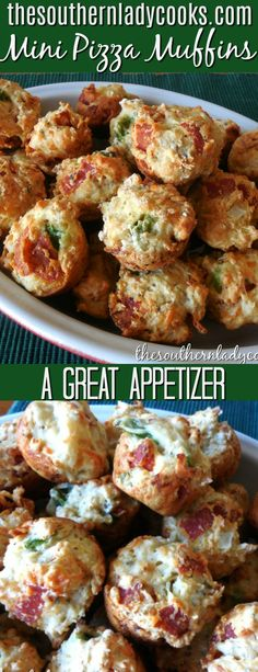 These mini pizza muffins make great appetizers and snacks. Kids love them as well as adults. A pizza in a muffin. #muffins #pizza #bread #snacks #appetizers
