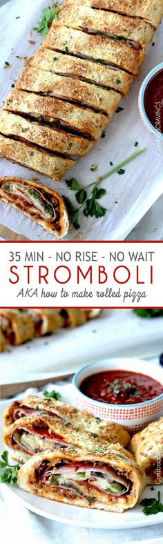 satisfy your pizza cravings in 35 minutes or less with No Wait No Rise Stromboli AKA rolled up pizza! Step by step tutorial of how to make EASY stromboli. A family favorite instant meal or must have appetizer. #stromboli #pizzadough #30minutemeals