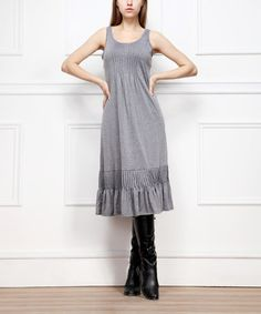 Look what I found on #zulily! Gray Pintuck Pleated Sleeveless Dress by Reborn Collection #zulilyfinds