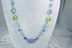 Pretty Blue & Green Bead Fashion Necklace by amyrigs on Etsy