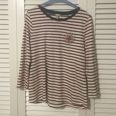 Striped 3/4 length tee NWT dark red and white striped tee. Navy neckline with beading at the left chest. 100% cotton. J. Crew Tops Tees - Long Sleeve